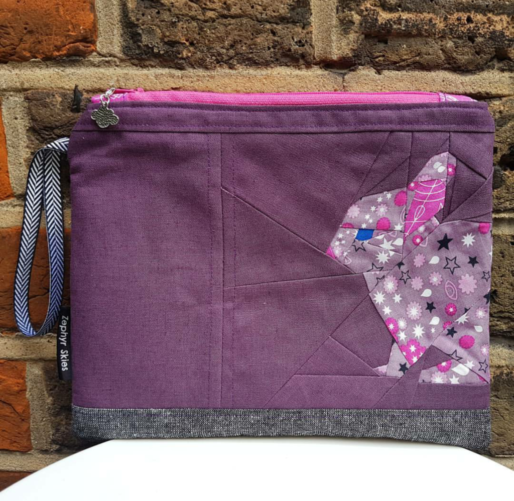 Purple star bunny zipper pouch
