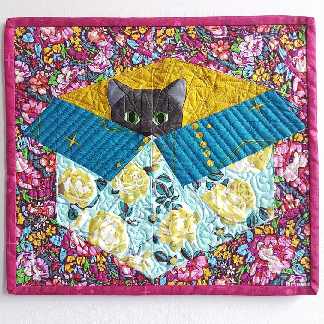Peek A Boo mini quilt with Frank the cat
